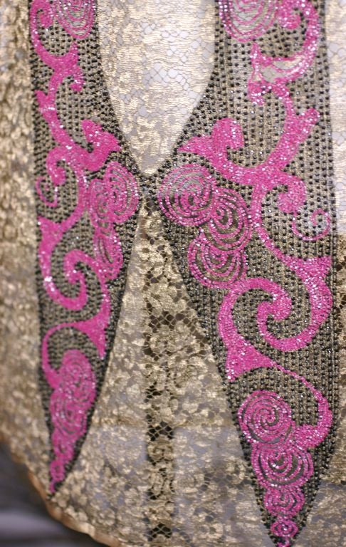 Art  Deco Gold Lace and Beaded Flapper Dress For Sale 1