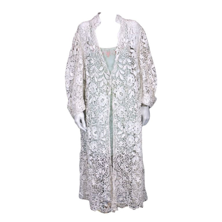 Ewardian floral embroidered lace coat for sale at stdibs