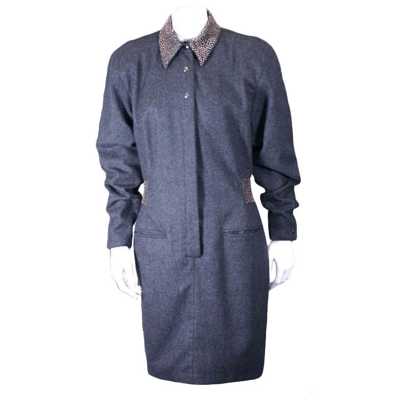 Claude Montana Studded Grey Flannel Dress 1