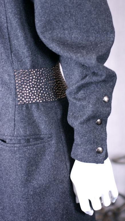 Gray Claude Montana Studded Grey Flannel Dress For Sale