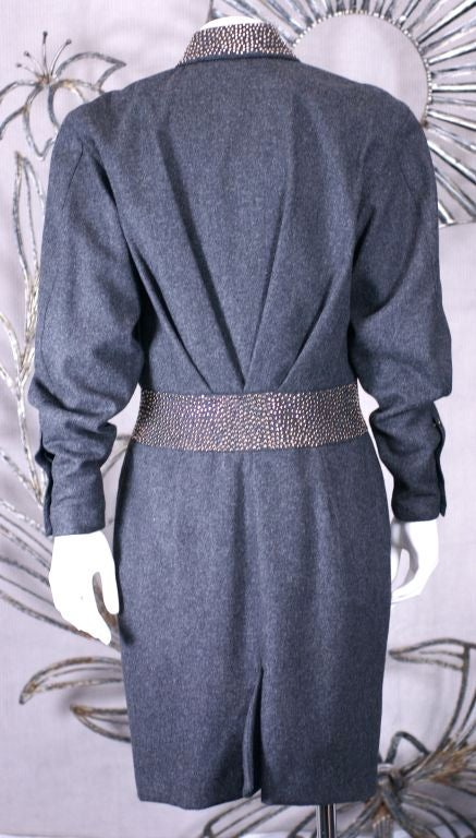 Claude Montana Studded Grey Flannel Dress In Excellent Condition For Sale In Riverdale, NY