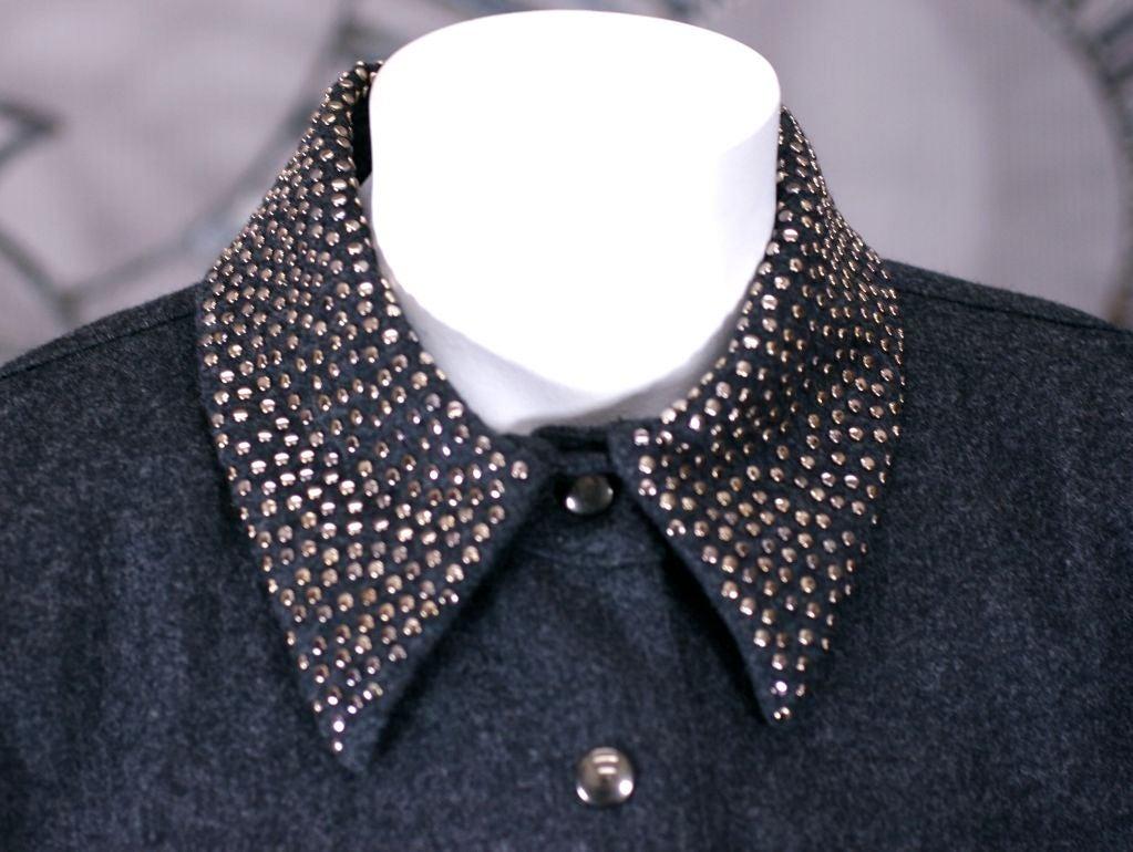 Women's Claude Montana Studded Grey Flannel Dress For Sale