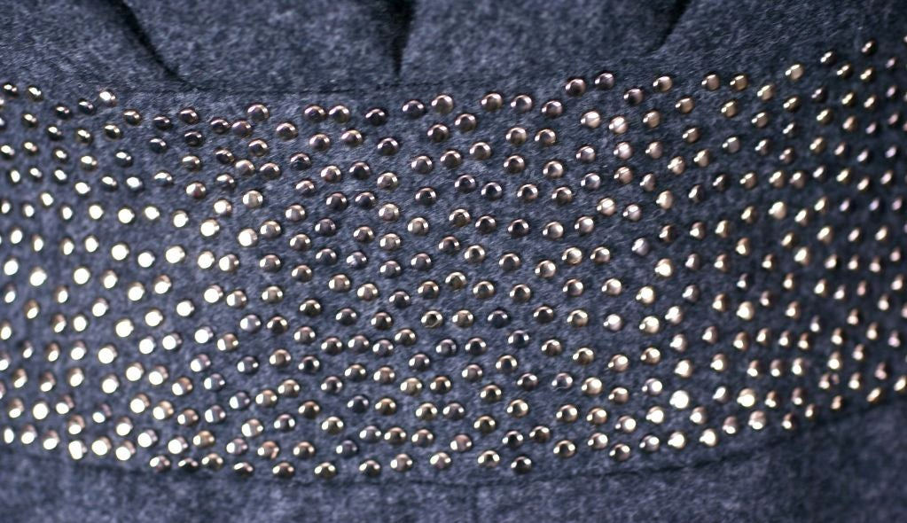 Claude Montana Studded Grey Flannel Dress For Sale 1