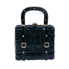 1960s Faux Wicker Patent Box Bag