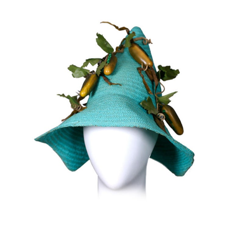 Figural Pickle Straw Sun Hat, Maybelle Marie Birch,California For Sale