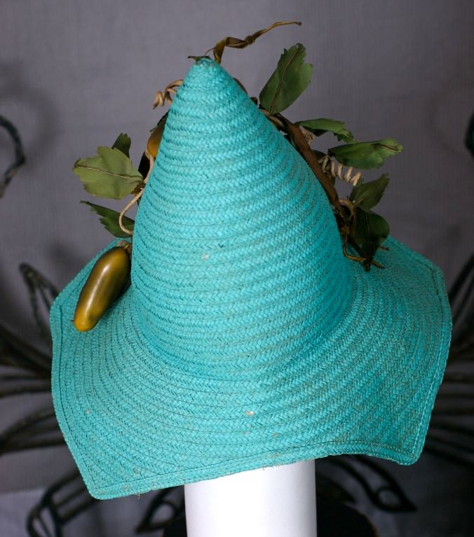 Figural Pickle Straw Sun Hat, Maybelle Marie Birch,California In Excellent Condition In Riverdale, NY