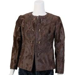 Brown & Orange Faux Broadtail Jacket
