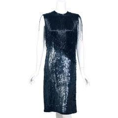 Halston Beaded Fringe & Sequin Dress,1970's