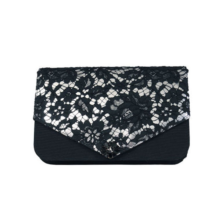 French Lace over Leather Clutch, Cerny Paris 1