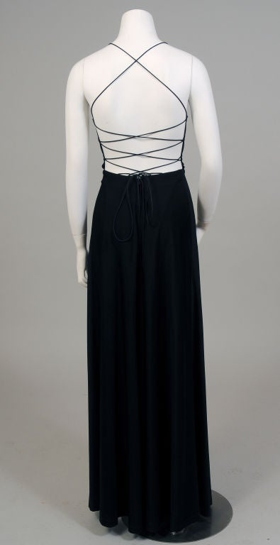 Black Jersey Dress with Corset Style Laced Back , circa 1970  In Excellent Condition For Sale In New Hope, PA