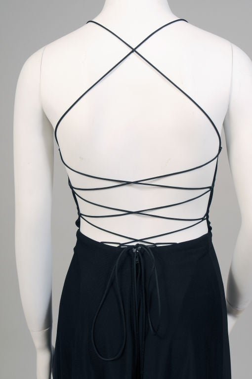 Women's Black Jersey Dress with Corset Style Laced Back , circa 1970  For Sale