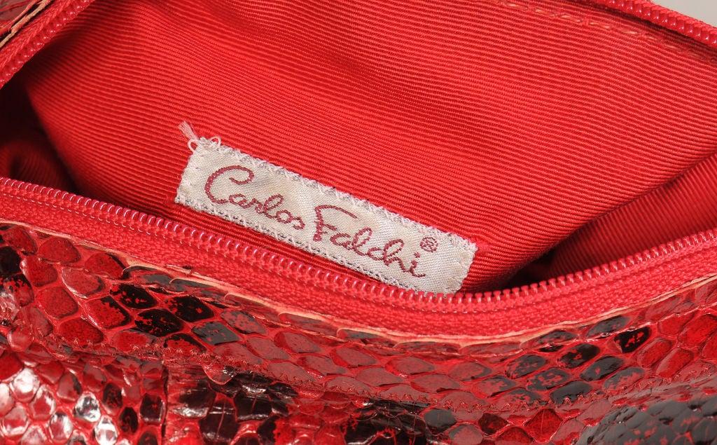 Red Carlos Falchi Snakeskin  Bag For Sale