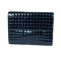 Jean Louis Scherrer Black Plastic Disc Clutch Bag
