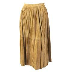 Mario Valentino Pleated Suede Skirt