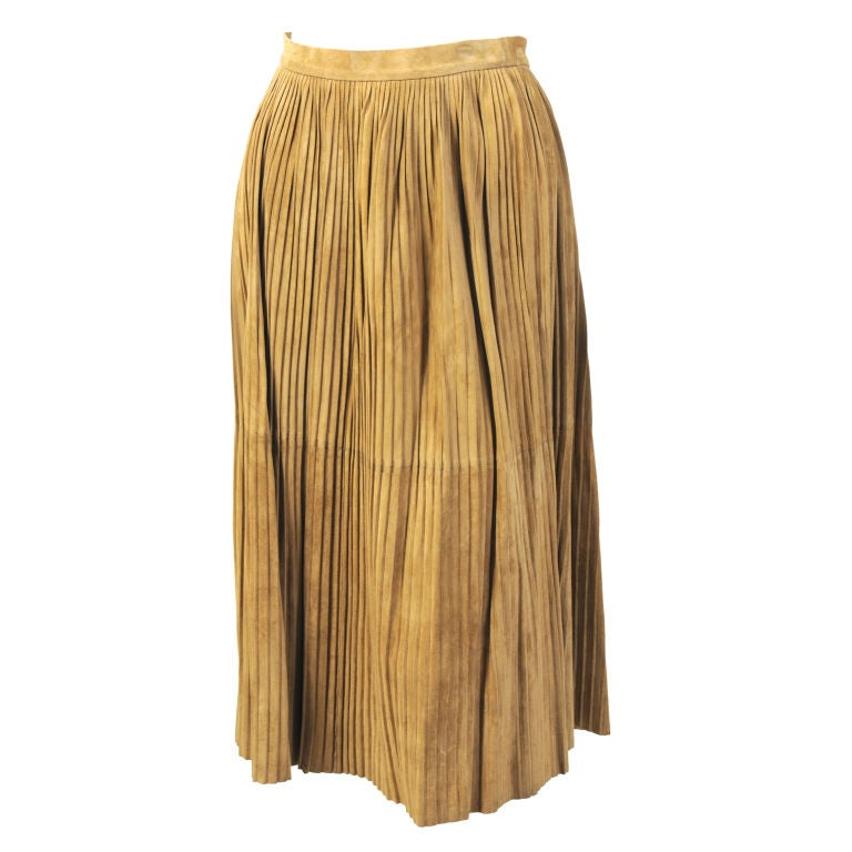 Mario Valentino Pleated Suede Skirt 1