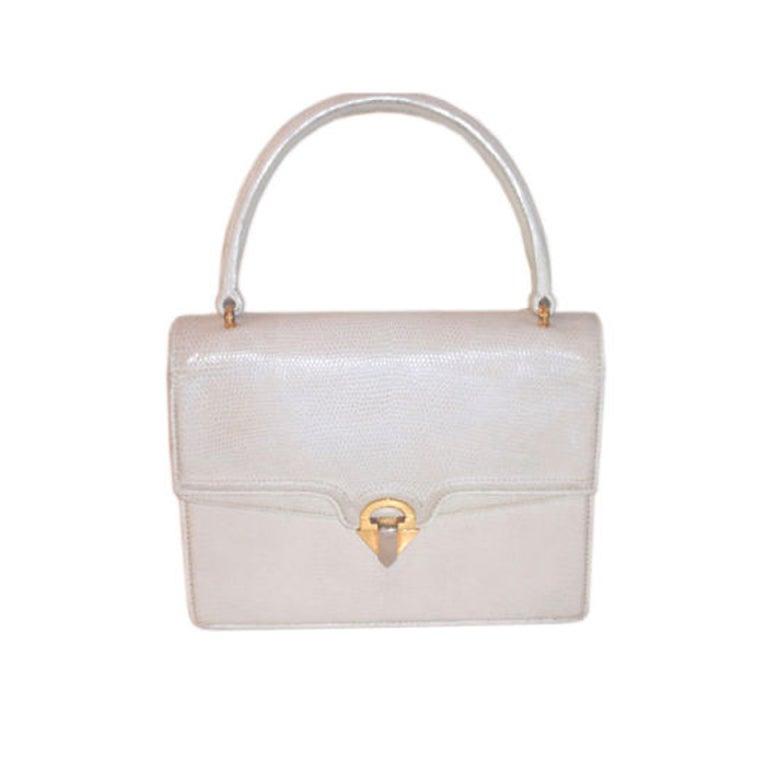 Gucci Vintage White Lizard Skin Square Handbag Circa 1960