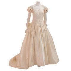 Christian Dior Champagne Silk Wedding Gown, Circa 2000