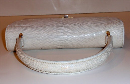 Gucci Vintage White Lizard Skin Square Handbag, Circa 1960