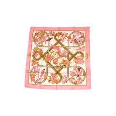 Hermes Pink Silk Scarf with Birds, Circa 1980