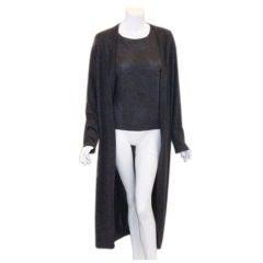 Hermes 2pc Gray Cashmere Shirt and Long Sweater Set, Circa 2000