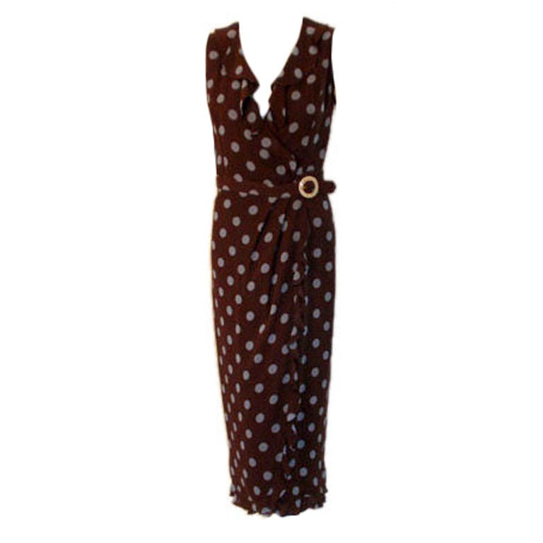 Valentino Brown with Blue Polka Dot Dress, Circa 1990's at ...