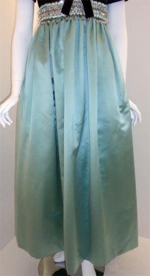 c9dcd080dbc2 Sarmi Chocolate Velvet & Aqua Duchess Satin Jewelled Empire Waist Gown,  1970's For Sale 1