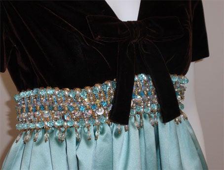 0972ac14285e Women's Sarmi Chocolate Velvet & Aqua Duchess Satin Jewelled Empire Waist  Gown, 1970's For Sale