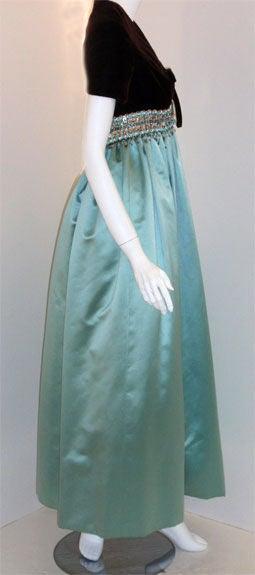 6c8bdd939e4d Gray Sarmi Chocolate Velvet & Aqua Duchess Satin Jewelled Empire Waist Gown,  ...