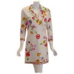 Leonard White Floral Print Day Dress, Circa 1990