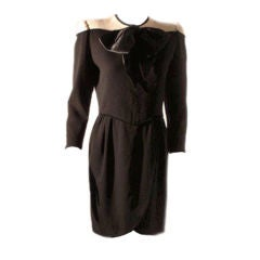 Valentino Black and Cream Wool Day Dress, Circa 1980's