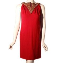 Bob Bugnand Vintage Red Jeweled Cocktail Dress, Circa 1970