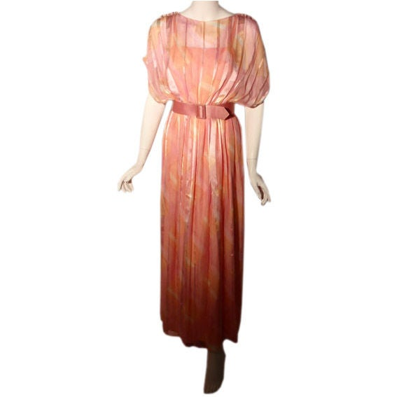 Teal Traina Pink Pastel Chiffon Gown, Circa 1970