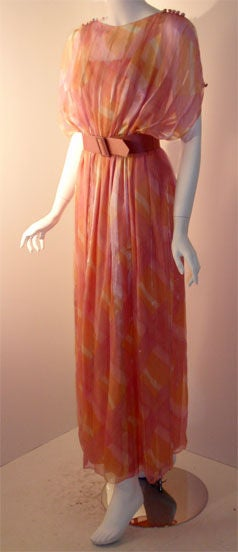 Teal Traina Pink Pastel Chiffon Gown, Circa 1970 3
