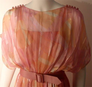 Teal Traina Pink Pastel Chiffon Gown, Circa 1970 6