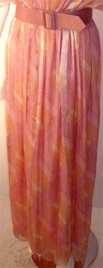 Teal Traina Pink Pastel Chiffon Gown, Circa 1970 7