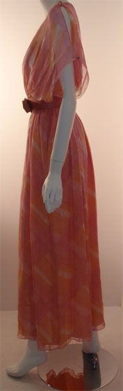 Teal Traina Pink Pastel Chiffon Gown, Circa 1970 4