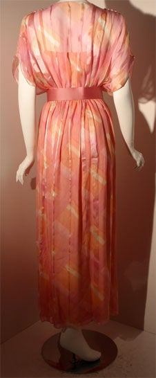 Teal Traina Pink Pastel Chiffon Gown, Circa 1970 5