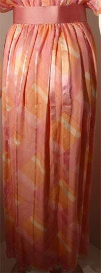 Teal Traina Pink Pastel Chiffon Gown, Circa 1970 9
