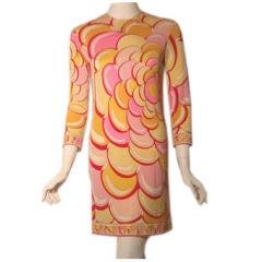 Emilio Pucci Pink Swirl Print Short Day Dress, Circa 1970