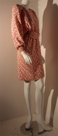Brown Valentino White and Pink Belted Silk Blouse Dress, Circa 1980 For Sale