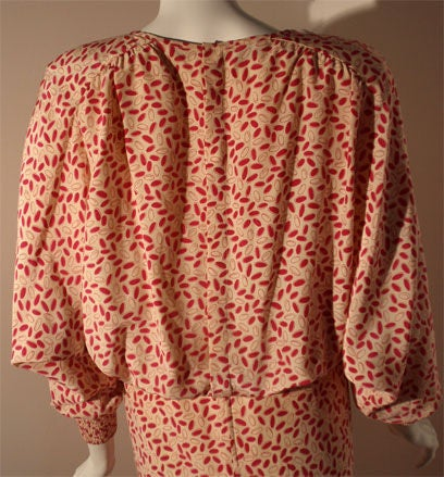 Valentino White and Pink Belted Silk Blouse Dress, Circa 1980 For Sale 2