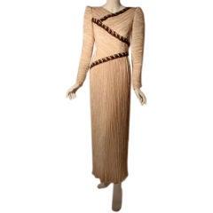 Mary Mc Fadden Cream Evening Gown with Beading, Circa 1990