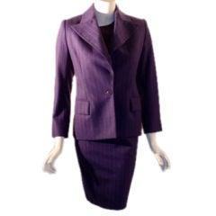 Yves St Laurent 3pc Purple Pin Stripe Suit Set, Circa 1990's
