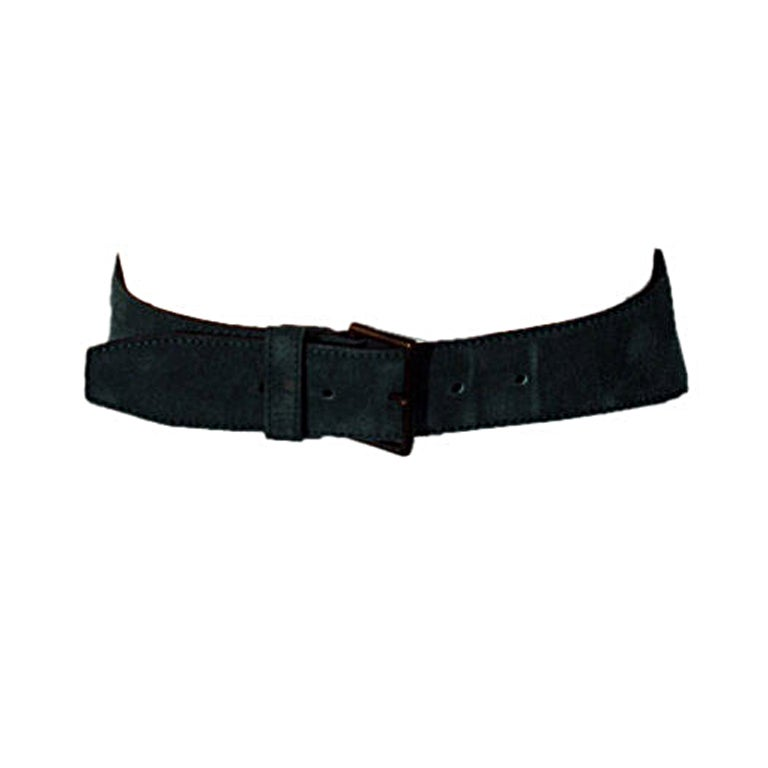 Alaia Emerald Suede Belt with Brass Studs, Circa 1990 1