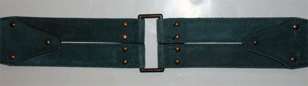 Alaia Emerald Suede Belt with Brass Studs, Circa 1990 6