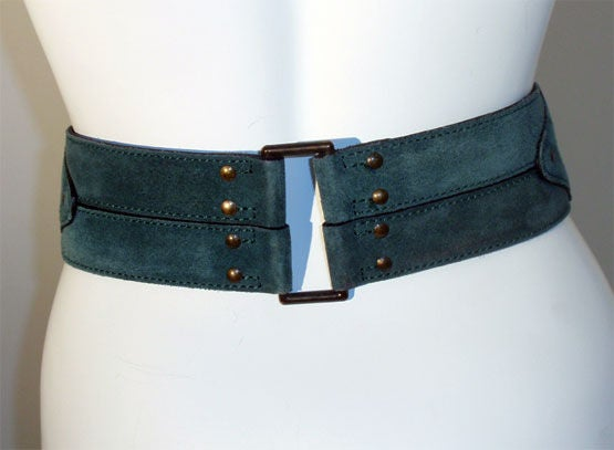 Alaia Emerald Suede Belt with Brass Studs, Circa 1990 5