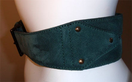 Alaia Emerald Suede Belt with Brass Studs, Circa 1990 4