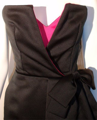 Victor Costa Black and Pink Silk Cocktail Dress, Circa 1980s 6