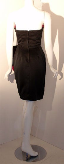 Victor Costa Black and Pink Silk Cocktail Dress, Circa 1980s 5