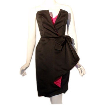 Victor Costa Black and Pink Silk Cocktail Dress, Circa 1980s 1